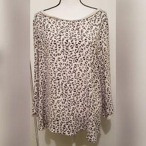 LOFT Ann Taylor Gray Black Blouse Long Sleeve Top
